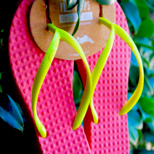 Women's Sustainable Flip Flops Watermelon with Lemon Straps