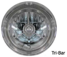 "Load image into Gallery viewer, 5 3/4""CUSTOM HEADLIGHT ASY,12V TRI-BAR LENS,BILLET ALUMINUM HALOGEN BULB,CHROME PLATED"