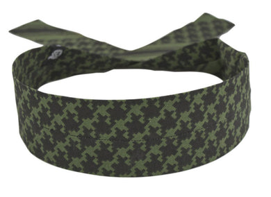 COOLDANNA HEAD AND NECK TIE 100% COTTON,OLIVE HOUNDSTOOTH ZANHEADGEAR DC235