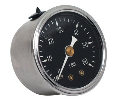 Oil Pressure Gauge, Standard 60 Psi Oil Filled To Reduce Needle Bounce