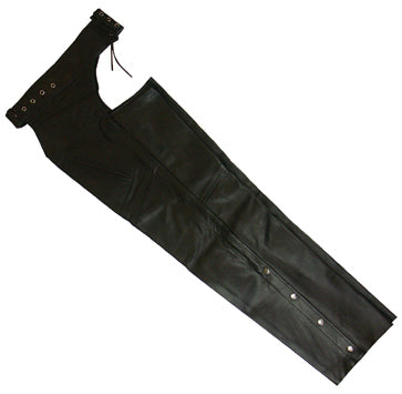 LEATHER CHAPS, LARGE BLACK TOP QUALITY COW HIDE