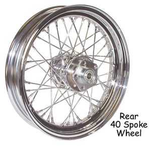 "CHROME 16"" 40 SPOKE REAR WHEEL HARLEY DAVIDSON FLT FXST DYNA FXST 2000/2007"