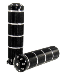 Billet Aluminum Hand Grips All Models W/Exterior Cables Black Anodized