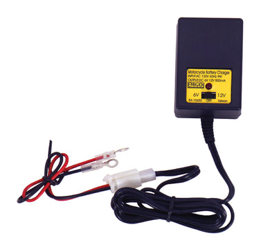 BATTERY CHARGER,TRICKLE ALL MOTORCYCLES 6 & 12 VOLT W/PERMANENT