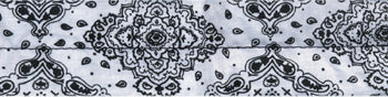 COOLDANNA HEAD AND NECK TIE 100% COTTON, WHITE PAISLEY ZANHEADGEAR D102