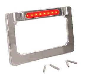 "LIC PLATE FRAME W/LED LT STRIP RED LED LIGHT STRIP FIT 4""X7"" LIC PLATES CHROME DIE CAST"
