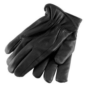 SOFT LEATHER BLACK GLOVES WITHOUT LINING, MEDIUM