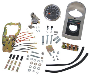 Instrument Panel Kit, Late Type Kit For 2 Pc Fatbob Gas Tank 2:1 Ratio Spdo, Ign Sw and Hrdw