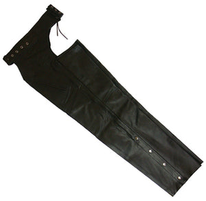 LEATHER CHAPS, MEDIUM BLACK TOP QUALITY COW HIDE