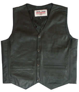 LEATHER VEST, XL BLACK TOP QUALITY COW HIDE