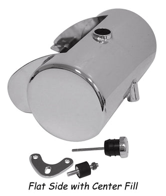 3.5 Qt Custom Round Oil Tank Any Frm W/St Style Mt, Raw Stl Center Fill With Battery Box