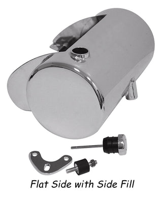 3.5 Qt Custom Round Oil Tank Any Frm W/St Style Mt, Raw Stl Side Fill With Battery Box