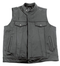 Load image into Gallery viewer, Leather Club Style Vest, XL Ykk Zipper and Snap Buttons Stand Up Collar