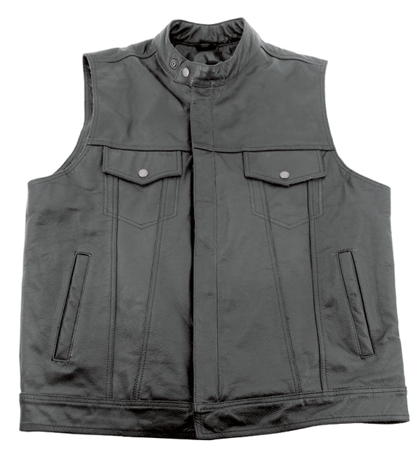 Leather Club Style Vest, XL Ykk Zipper and Snap Buttons Stand Up Collar