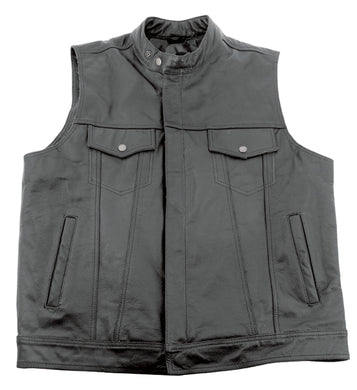 LEATHER CLUB STYLE VEST,LARGE YKK ZIPPER & SNAP BUTTONS STAND UP COLLAR