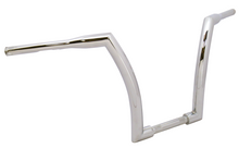 "Load image into Gallery viewer, HANDLEBAR, 1-1/2"" DIA. CHROME 18""RISE,1.25""RISE AREA,5""PBACK 35"" WIDE, 82/LATER INC FBW"