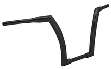 "Load image into Gallery viewer, HANDLEBAR, 1-1/2"" DIA. BLACK 14""RISE,1.25""RISE AREA,5""PBACK 65"" WIDE, 82/LATER INC FBW"