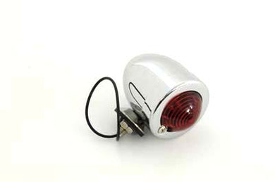 CHROME BULLET MARKER LAMP RED SINGLE FILAMENT FEATURE METAL CONSTRUCTION