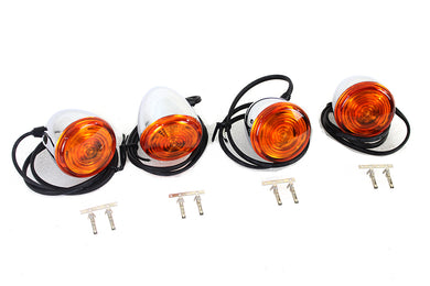 Mini Torpedo Style LED Turn Signal Set with Amber Lenses FLST 1999/2016 FXST 1999/2016