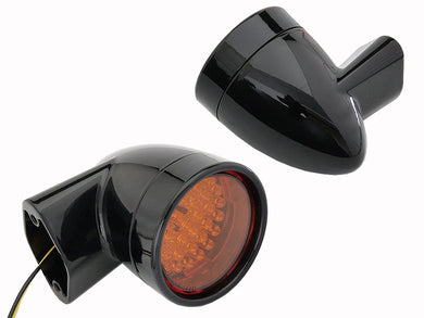 BLACK REVOX BULLET STYLE LED REAR TURN SIGNAL SET FLH 1994/2013 FLT 1998/2013 FLST 1996/UP