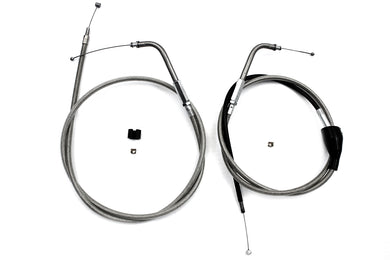 46 Stainless Steel Throttle And Idle Cable Set FLT 1998/2001 FHLTCU i 1996/2001 FLTcui 1996/1996