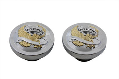 Live To Ride Gas Cap Set Vented And Non-Vented FL 1983/1984 FXST 1984/1995 FLST 1986/1995 FX 1983/1984 FLT 1983/1995 FXR 1983/1994