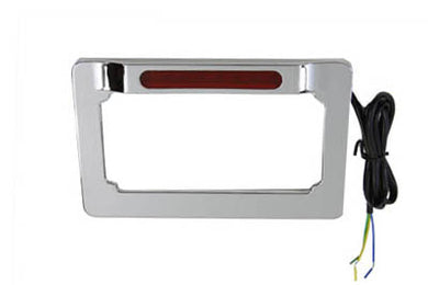 LICENSE PLATE FRAME CHROME BILLET WITH LED TOP LAMP Custom 0/