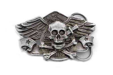 Skull With Wings Belt Buckle