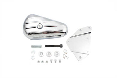 Chrome Left Side Oval Tool Box And Mount Kit FXST 1984/1999 FLST 1990/1999