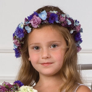 Flower girl flower crown lavender and blues