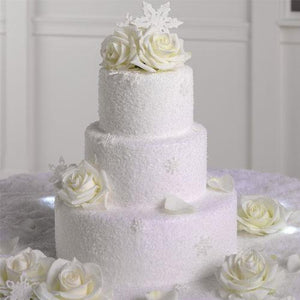 Wedding Flower Cake with White Roses