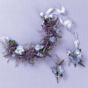 lavender flower crown and earrings
