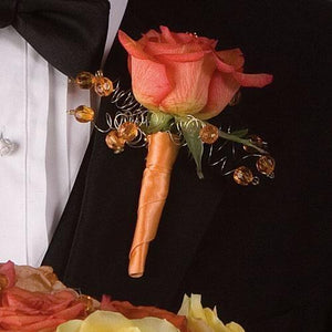 Orange Spray Roses Boutonniere - flowersbypouparina.com