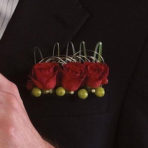 Red Spray Roses Boutonniere - flowersbypouparina.com