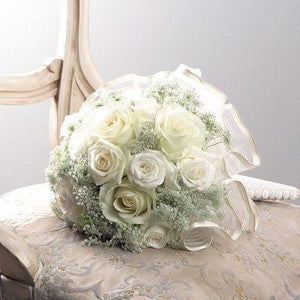 Weddings White Rose and Queen Anne's Lace Bouquet - flowersbypouparina.com