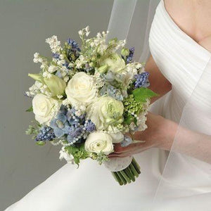 Wedding White Bouquet with Blue and Pearl Accents - flowersbypouparina.com