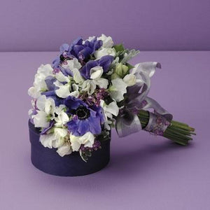 Wedding Sweet Pea and Anemone Bouquet - flowersbypouparina.com