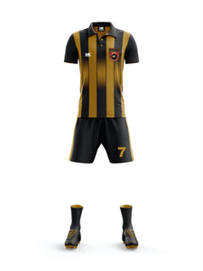 gold and black football kit