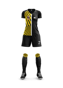 Yellow and black women's football kit