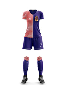 Red and blue girls football kit
