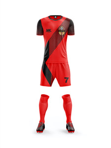 red and black boys football kit