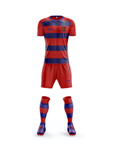 Red and blue boys football kit