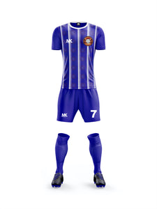 blue and white men's football kit