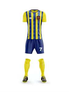 blue and yellow boys football kit