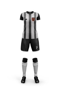 Grey and black women's football kit