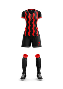 red and black women's football kit