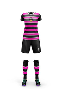 pink and black women's football kit