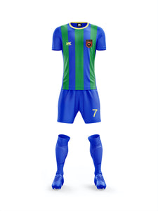 green and blue football kit