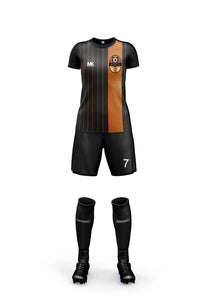 orange and black girls football kit
