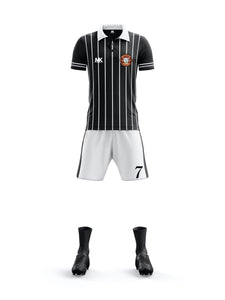 black and white boys football kit